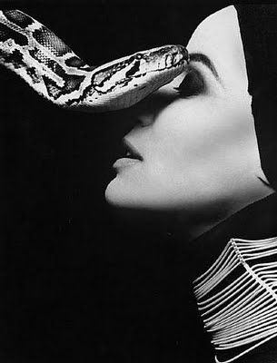 even tho' I HATE snakes with everything in me, this is pretty neat...Veruschka with serpent