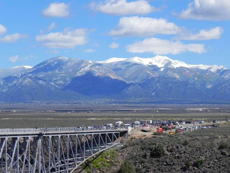 Rio Grande Gorge Bridge And Sangre De Cristo Mountains In Taos New Mexico US