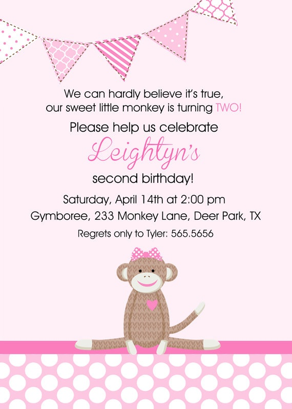 2nd Birthday Invite Wording I Would Change Monkey With Baby For Non Theme