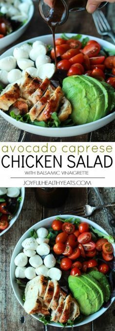 A Quick Easy Dinner for two, Avocado Caprese Chicken Salad topped with a light Balsamic Vinaigrette. The perfect Salad recipe for summer that only takes 15 minutes! | http://joyfulhealthyeats.com #recipe