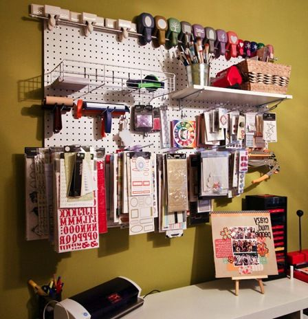 248 best images about creative spaces on pinterest for Craft room pegboard accessories