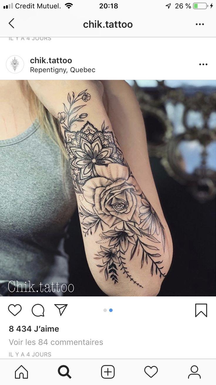 Floral mandala arm tattoo