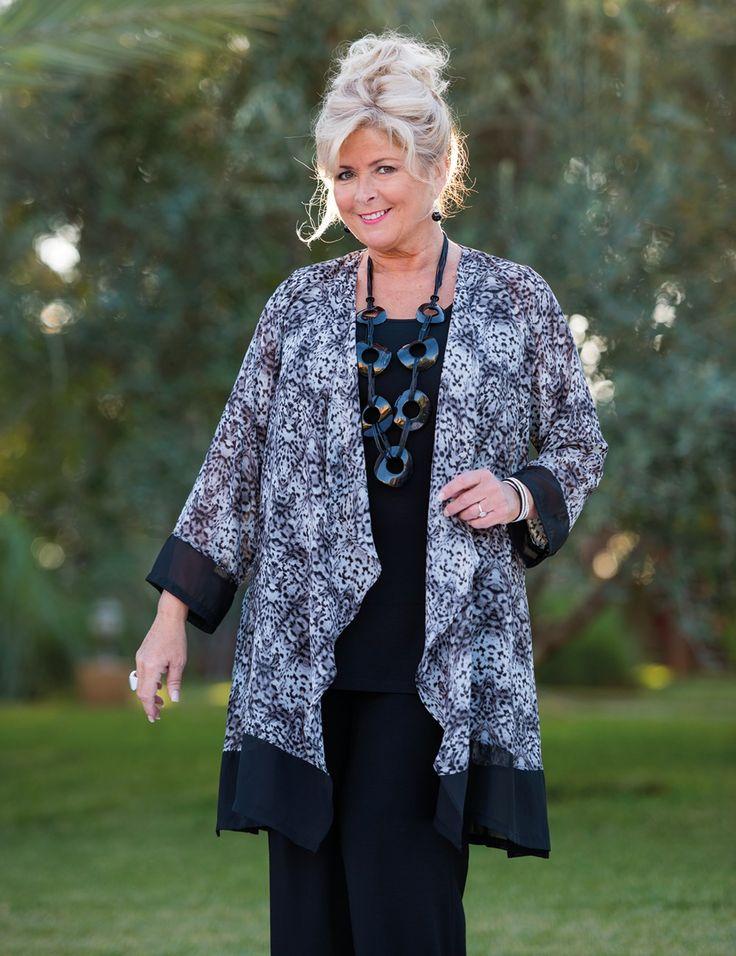 Kasbah+black/grey+voile+animal+waterfall+trim+jacket,+vest+and+trouser