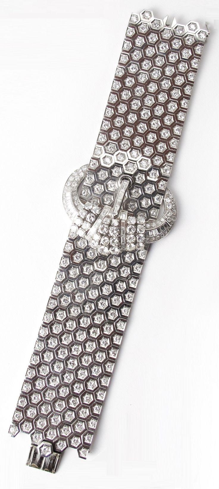 Art Deco diamond belt bracelet, French