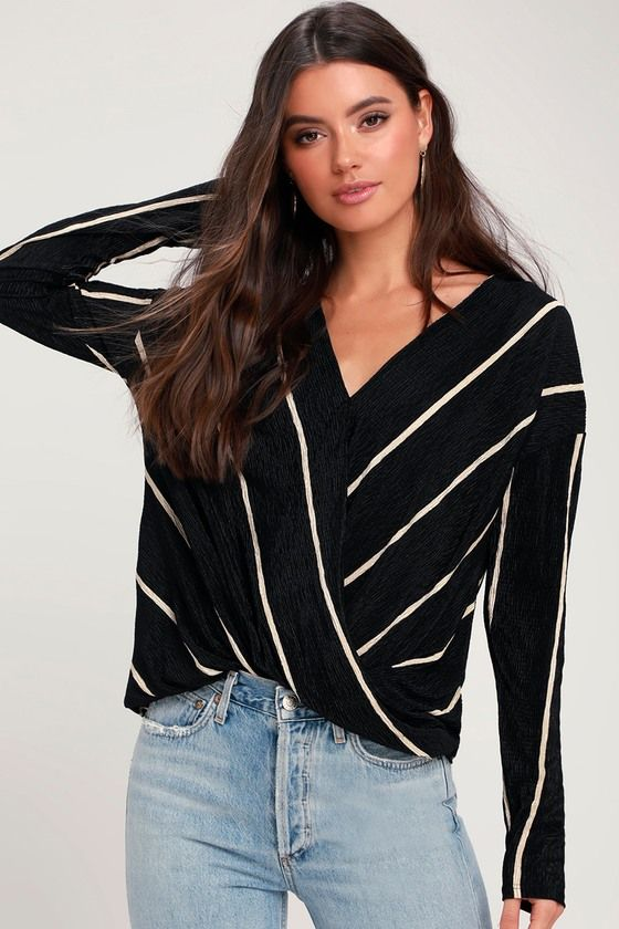 9485fdeefb154 The LUSH Brinley Black Striped Long Sleeve Surplice Top is sure to be a  standout piece in your closet! Crepe-like fabric shapes a looping surplice  bodice.