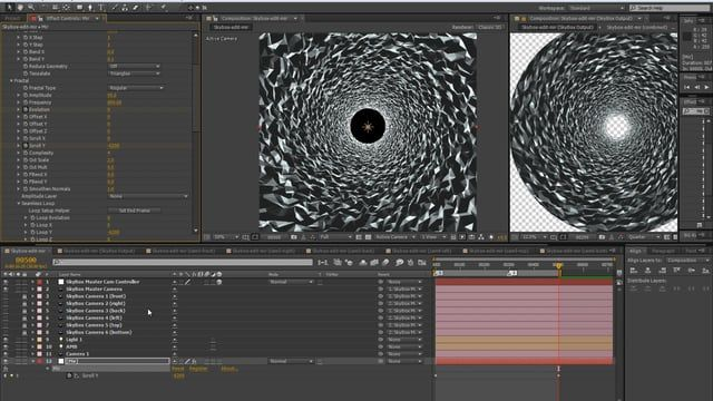 Here is a quick overview on my workflow for Circular Tunnels setups ready to project 4K on a DOME surface. using trapcode MIR and Skybox Studio from Mettle   Duplicate with connection script : http://aescripts.com/duplicate-with-connections/  TRAPCODE MIR : https://www.redgiant.com/products/trapcode-mir/  SKYBOX STUDIO : http://www.mettle.com/product/skybox-studio/