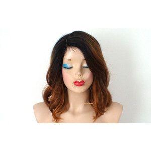 Ombre Wig Mono Part Wig Auburn Ombre Wig Dark Roots Wig Short Wig Beach Wave Hairstyle Wig Dur