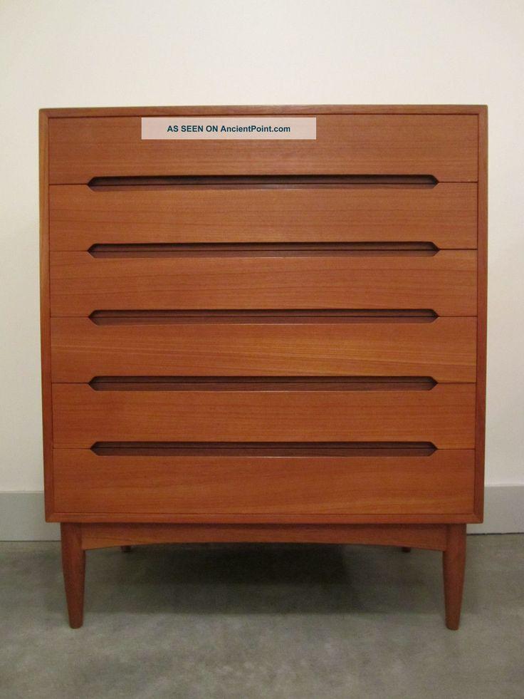 Danish Modern Vintage Teak 6 Drawer Dresser Mid Century Chest Highboy Eames Era Post-1950 photo