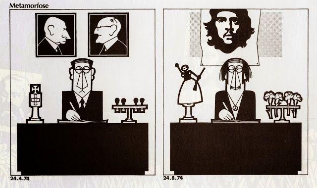 """João Abel Manta, Título: """"Metamorfose"""". Viñeta del 74 (después de abril) o del 75."""