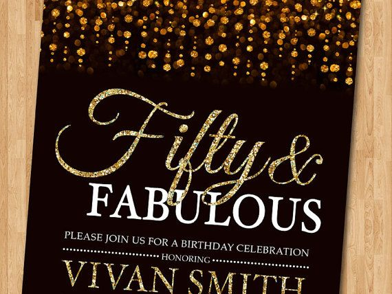 50th birthday invitation for women. Fifty and by arthomer on Etsy