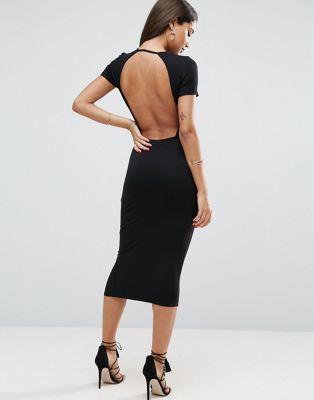 Облегающее платье-футболка миди с открытой спиной ASOS