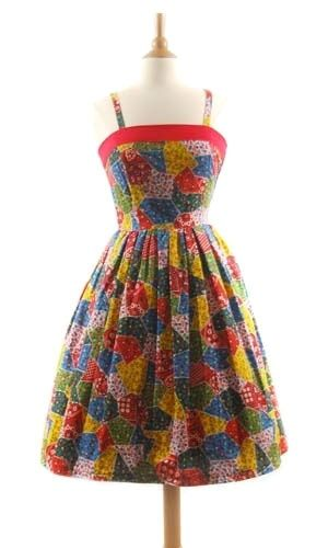 Rockabilly Patchwork Dress - Vintage Floral Dresses Image