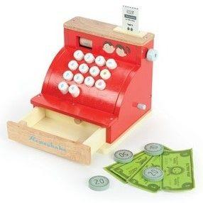 Caja registradora de juguete de madera para supermercados