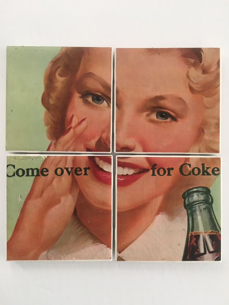 Set of 4 Ceramic Hot and Cold Drink Beverage Coasters with Felt Backing featuring Old Vintage COKE COCA COLA Soda Ad Advertisement from 1951 by UpcyclingIt on Etsy