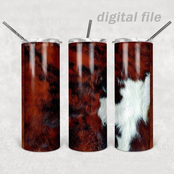 PNG,Design,Download Sublimation,Waterslide,Template,Digital Cowhide,20 oz Skinny Tumbler Straight /& Tapered