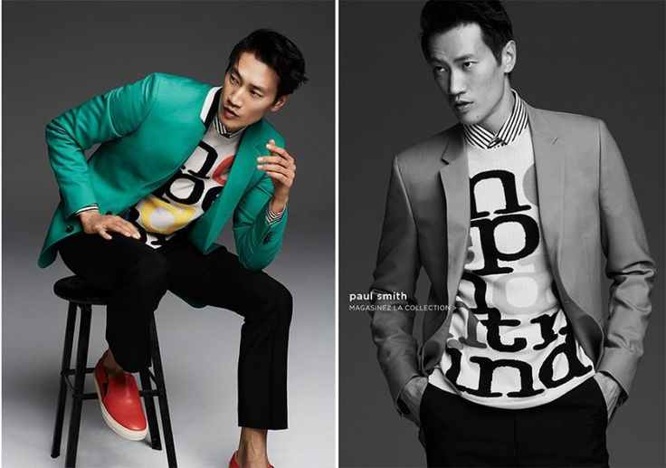 Philip Huang models a splash of color from British fashion brand Paul Smith.