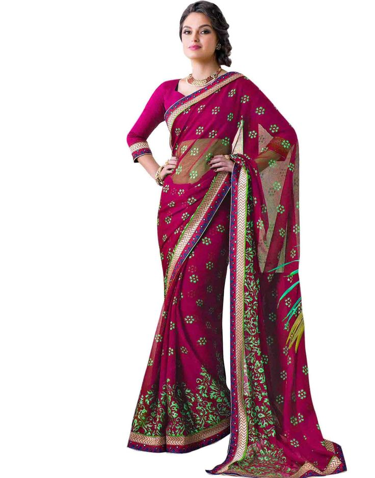 Pink Georgette with Zari Resham Embroidery and  Lace Border worked Saree