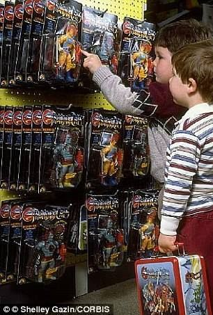 Kids in the 80s shopping for Thundercats. I could probably buy a nice car with that wall today.
