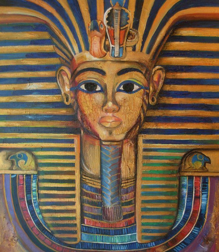 Tutankamon en proceso, Técnica de pétalos de flores  para relieve + OLEO