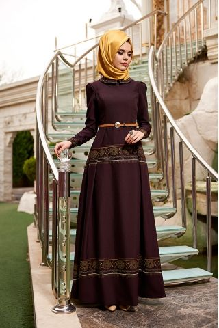 Nilüfer Kamacıoğlu Hayal Mürdüm Tesettür Elbise