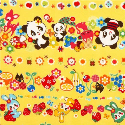 yellow kawaii animal fabric strawberry by Cosmo from Japan