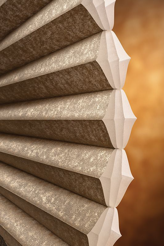 Duette® Opalessence™ Honeycomb Shades reveals a dusting of metallic mica dust that creates a sparkling effect at the window. ♦ Hunter Douglas Window Treatments. #shutters #privacy #security 800.922.9572 NC and SC
