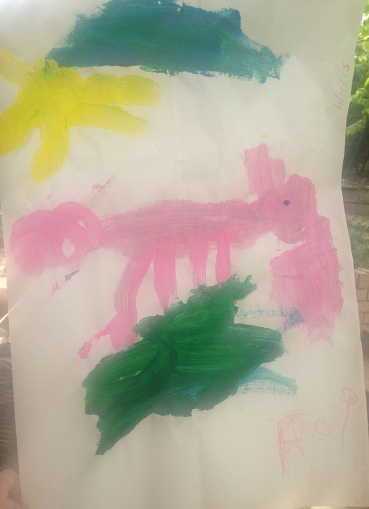 Aoife's playgroup painting. A pig eating out of a pink bin on a sunny day, Nov 2015