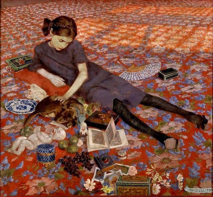 Girl on a Red Carpet, Felice Casorati, 1912