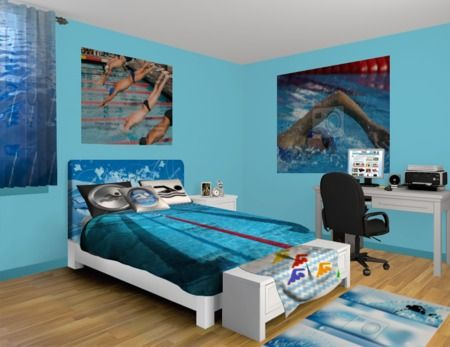 Swimming wall murals dive into a pool near you take a for Swimming pool room ideas