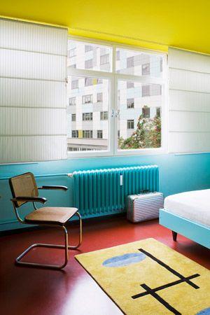 Vibrant turquoise radiator