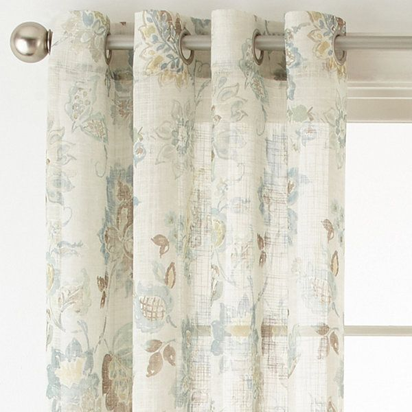 Jcpenney home bismarck grommet top sheer curtain panel for Jcpenney living room curtains