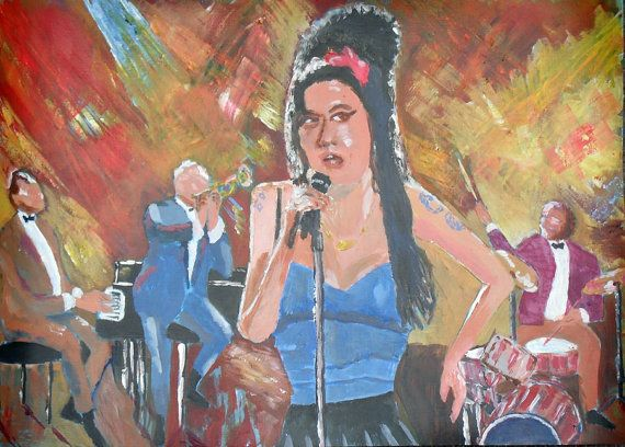 Original Painting Amy Winehouse on stage by JulianLovegroveArt, £50.00
