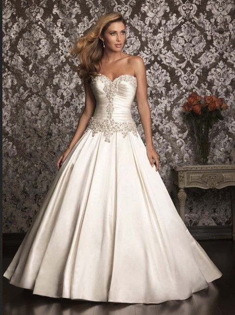 custom made sweetheart neckline satin wedding dress for Angela Sabers (with  4 foot train on the floor)