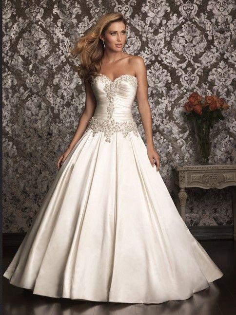 custom made sweetheart neckline satin wedding dress for Angela Sabers (with  4 f
