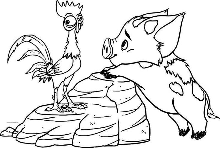 Pua Heihei Friends Coloring Page   Disney coloring pages ...