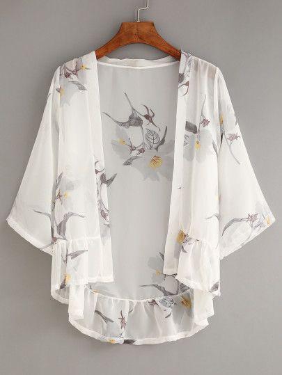 Kimono de volante en gasa estampado de flores -blanco-Spanish SheIn(Sheinside) Sitio Móvil