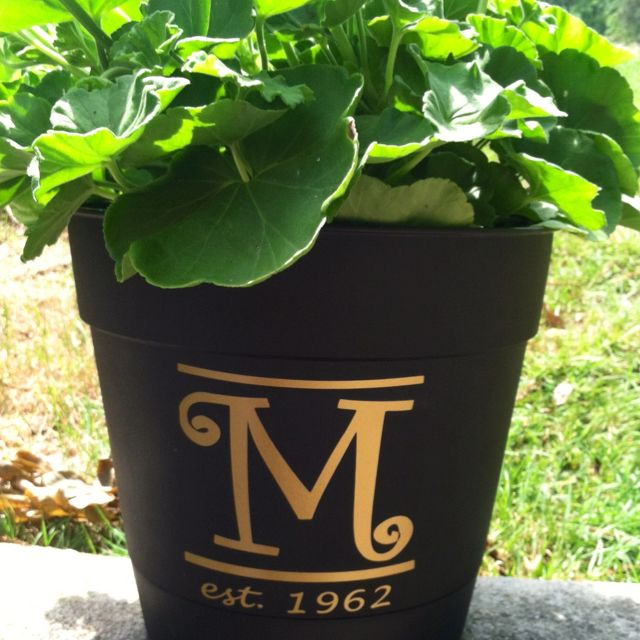 50th wedding anniversary gift.  The pot is plastic and them I just cut out the matte gold outdoor vinyl to adhere to the pot.