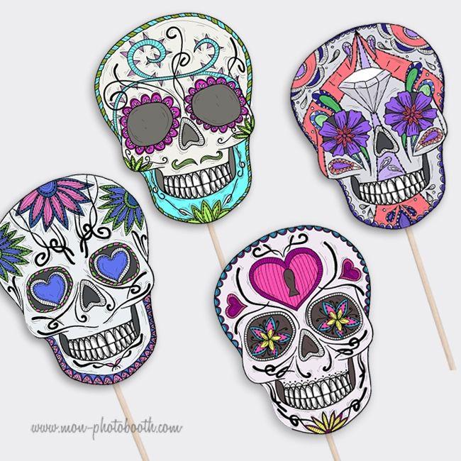 Lot de 4 Cranes Squelettes Mexicains- Photobooth Accessoire - Mon Photobooth
