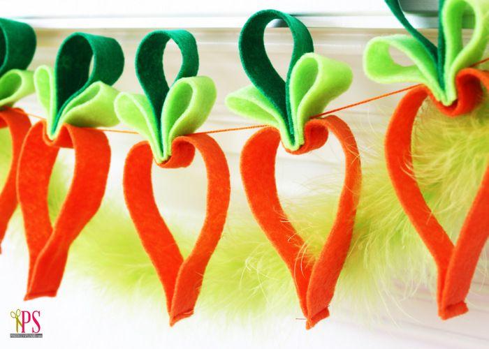 Decoração de Páscoa: Guirlanda de cenouras de feltro passo a passo - Caderninho da Mamãe