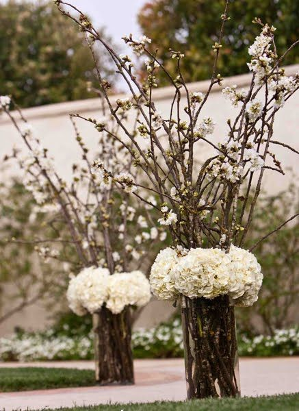 hydrangeas and cherry blossoms - might be good with lavender hydrangeas and forsythia