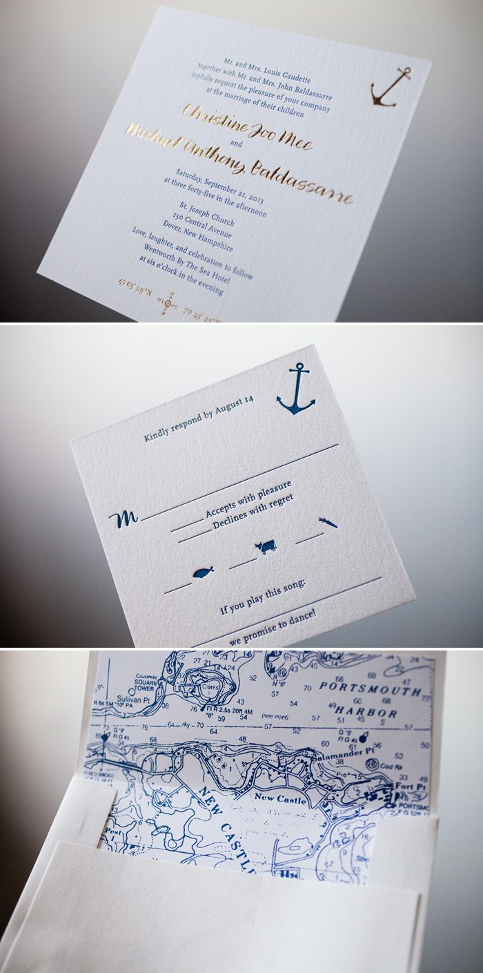 Love the map lining on the envelopes (Nautical Wedding invite by Gus & Ruby Letterpress)