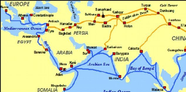 Maps Of Trade Routes On The Silk Road Silk Road Silk Road Map