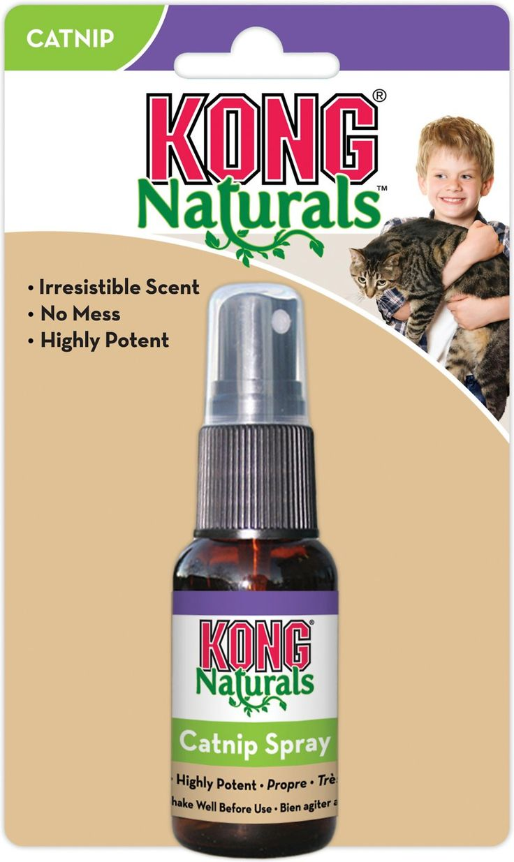There are two syllables that every cat loves: cat-nip. CATNIP! Get your cat riled up with KONG Naturals Catnip Spray. Just a few spritzes on your cat's toys leads to hours of excitement! Made from steam-distilled oil, this is the most potent catnip oil on the market. Each and every ingredient is all-natural, and comes from renewable resources. Plus, without the flakes of dried catnip, there is no mess to clean up! Did someone say catnip?!