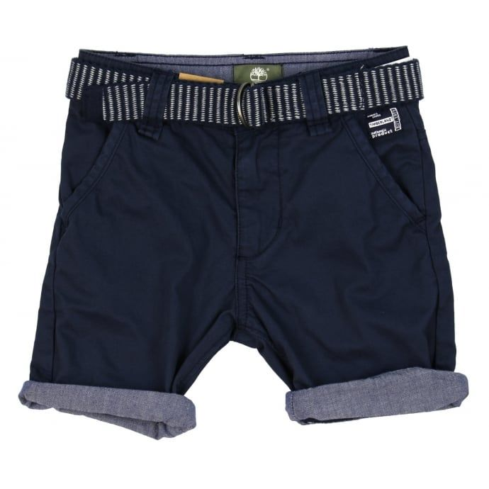 Timberland Boy's Navy Shorts with Striped Belt. Now available at www.chocolateclothing.co.uk