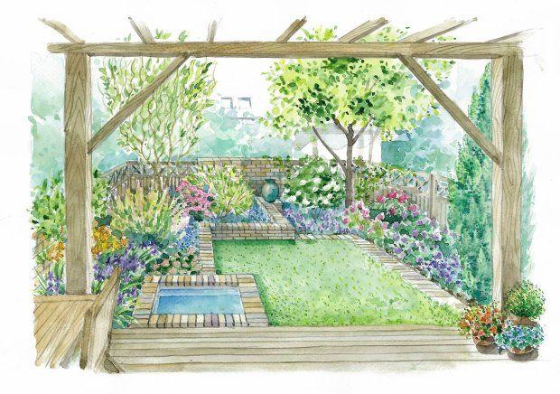 Pergola frames garden view well; varied planter heights add interest in a flat garden.