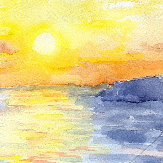 Zonsondergang op de oceaan aquarel schilderen 10 door SusanWindsor