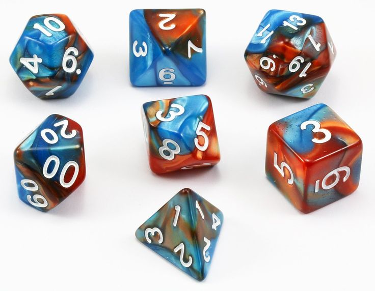Blended Dice (Elementalist) RPG Role Playing Game Dice Set