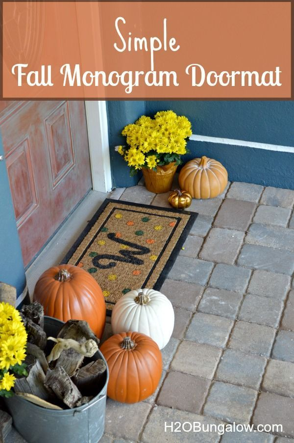 DIY fall monogram doormat that adds a touch of fall colors to your front door. My project is linked to 18 talented bloggers who showcase their talent fall decor! www.H2OBungalow.com