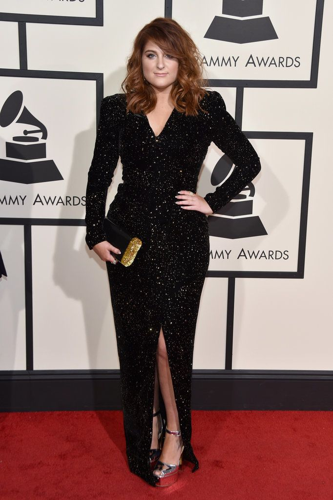 Meghan Trainor strut her stuff down the red carpet in this subtle sparkle number. | Galleria Dallas | Meghan Trainor | Red Carpet Fashion | 2016 Grammys | Little Black Dress