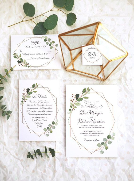 Beautiful Modern Geometric Wedding Invitation Set With Greenery And Charming Hand L Geometric Invitations Foil Wedding Invitations Geometric Wedding Invitation